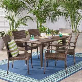 Delani Outdoor 7 Piece Wicker Dining Set by Christopher Knight Home