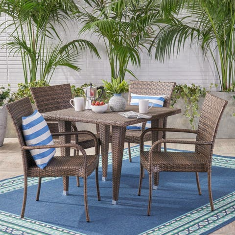 Delani Outdoor 5 Piece Wicker Dining Set by Christopher Knight Home