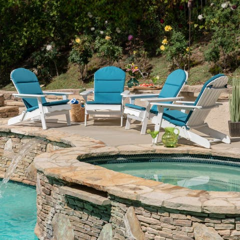Malibu Outdoor Acacia Wood Folding Adirondack Chairs with Cushions (Set of 4) by Christopher Knight Home