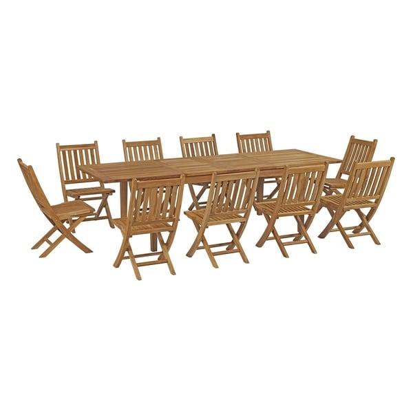 Havenside Home Pocasset 11-piece Patio Teak Outdoor Dining Set