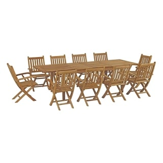 Havenside Home Pocasset 11-piece Patio Teak Outdoor Dining Set with Armchairs