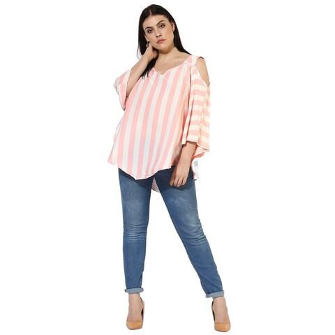 Qurvii Cold Shoulder polyester top