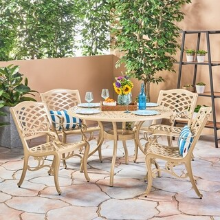 Phoenix Outdoor 5 Piece Cast Aluminum Round Dining Set by Christopher Knight Home