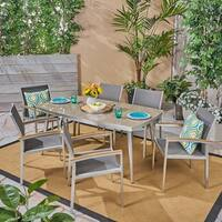 Liverpool Outdoor Aluminum 7 Piece Dining Set with Glass Table Top by Christopher Knight Home