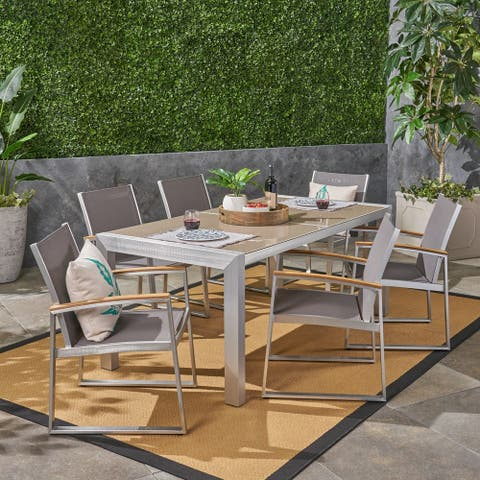 Rowan Outdoor Aluminum 7 Piece Dining Set with Glass Table Top by Christopher Knight Home
