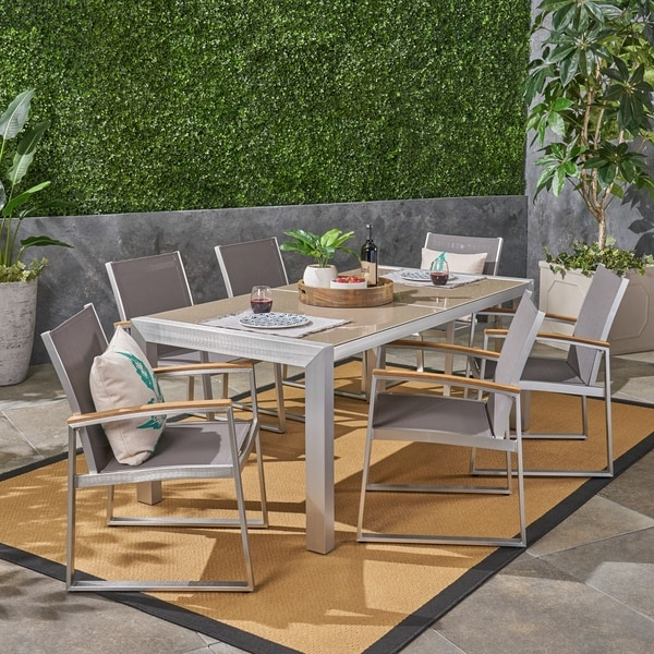 Rowan Outdoor Aluminum 7 Piece Dining Set with Glass Table Top by Christopher Knight Home. Opens flyout.