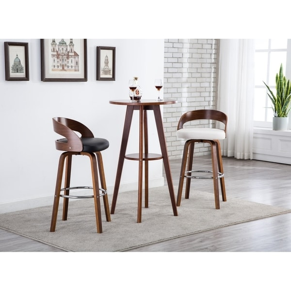 Shop Porthos Home Bar Counter Stools Leather Upholstery Set Of 2