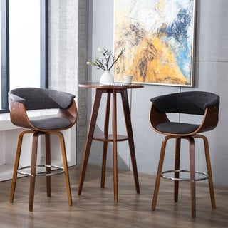 Porthos Home Bar/Counter Stools, Curved Back/Seat, Fabric Upholstery