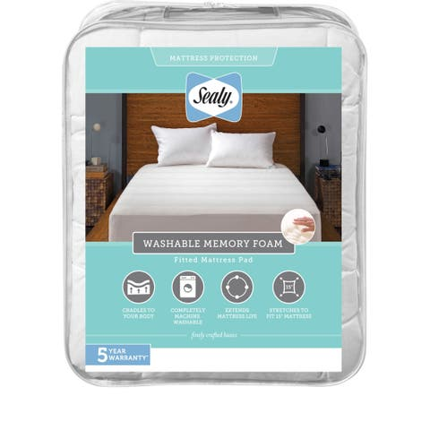 Sealy Washable Memory Foam Fitted Mattress Pad - White