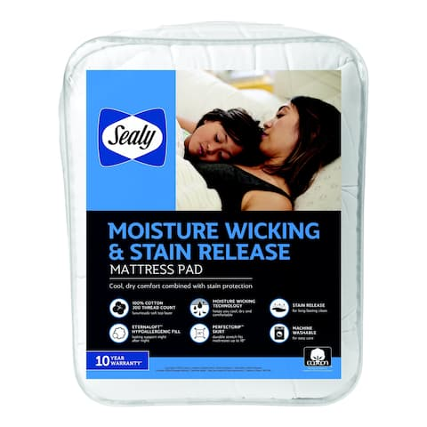 Sealy 100% Cotton Moisture Wicking and Stain Release Mattress Pad - White