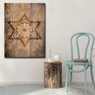 Ready2HangArt Inspirational 'Star of David IX' Wrapped Canvas Judaica Wall Art - Brown