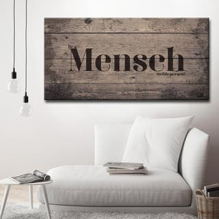 Inspirational 'Mensch' Wrapped Canvas Textual Wall Art