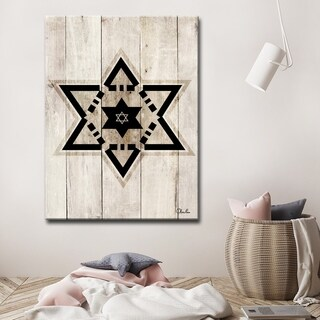Ready2HangArt Inspirational 'Star of David VIII' Wrapped Canvas Judaica Wall Art - Brown
