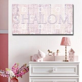 Ready2HangArt Inspirational 'Shalom II' Wrapped Canvas Judaica Wall Art - Pink