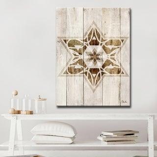 Ready2HangArt Inspirational 'Star of David VII' Wrapped Canvas Judaica Wall Art - Brown