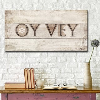 Ready2HangArt Inspirational 'Oy Vey' Wrapped Canvas Judaica Wall Art - Brown