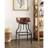 Carbon Loft Horseshoe Wood and Metal Bar Stool in Chestnut/ Black (As Is Item)