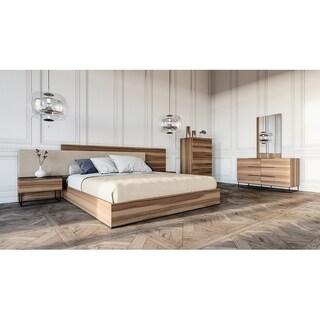 Nova Domus Matteo Italian Modern Walnut & Fabric Bedroom Set (2 options available)