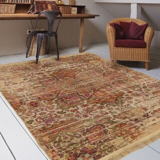 """Orian Rugs Providence Palermo Sand Area Rug with Beige Fringe - 6'7"""" x 9'6"""""""