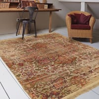 "Orian Rugs Providence Palermo Sand Area Rug with Beige Fringe - 5'2"" x 7'6"""
