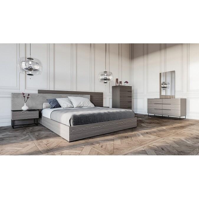 Shop Nova Domus Enzo Italian Modern Grey Oak Fabric Bedroom Set