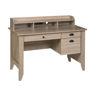 OneSpace Executive Desk with Hutch, USB and Charger Hub, Light Oak
