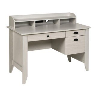 OneSpace Executive Desk with Hutch, USB and Charger Hub, White Oak