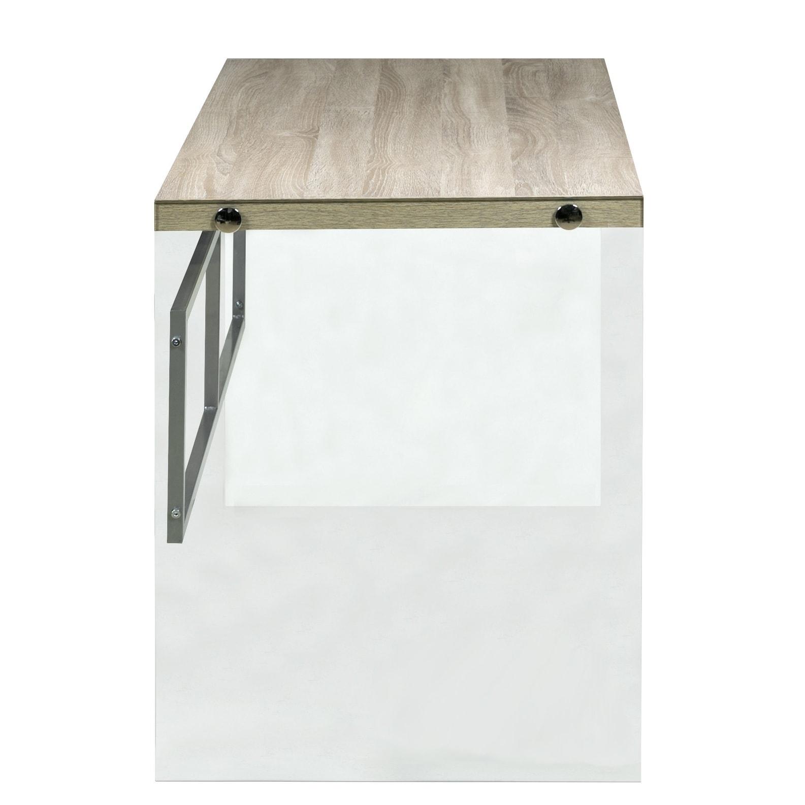 Escher Skye Computer Writing Desk Clear Gl And Wood Light Oak