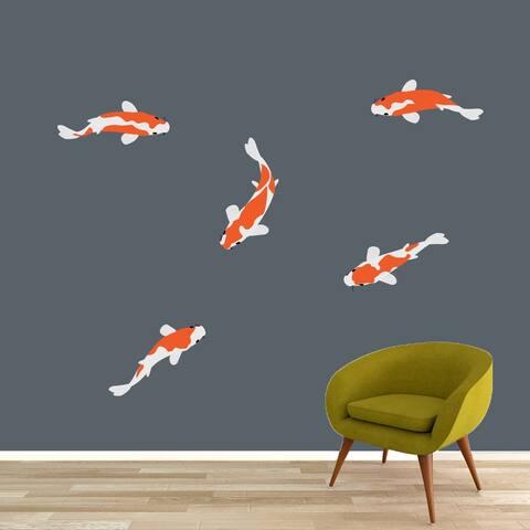 Koi Fish Printed Wall Decal Set