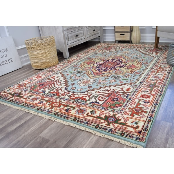 Ovalle Ciro Sky Blue Transitional Bohemian Area Rug - 5'X8'