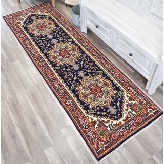 """Ovalle Che Midnight Blue Transitional  Bohemian Area Rug - 2'6""""x8'0"""""""
