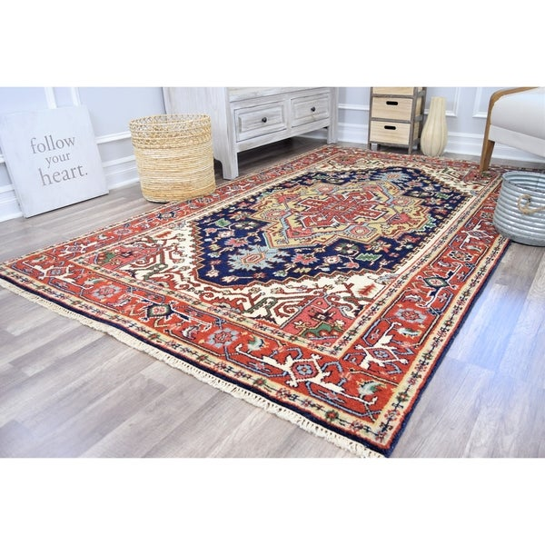 Ovalle Che Midnight Blue Transitional Bohemian Area Rug - 5'X8'