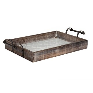 Kate and Laurel Mead Wood and Metal Farmhouse Tray