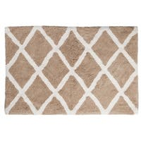 "Unbelievable Mats 18"" x 30"" Beige Diamond Design Handmade Cotton Bath Mat"