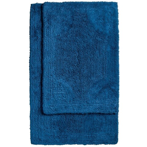 """Reversible Cotton Bath Mat 2 Piece Set in 20"""" x 32"""" and 17"""" x 24"""""""