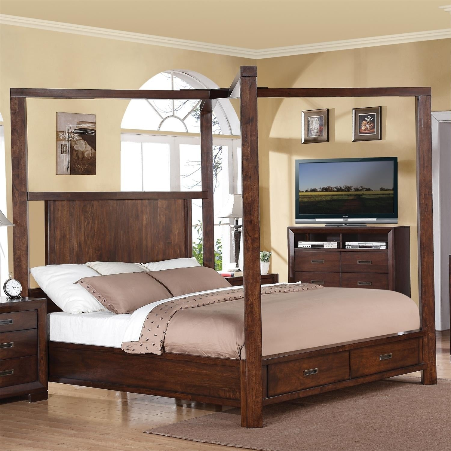 Image of: Shop Black Friday Deals On Riata Canopy Storage Bed Overstock 22174699