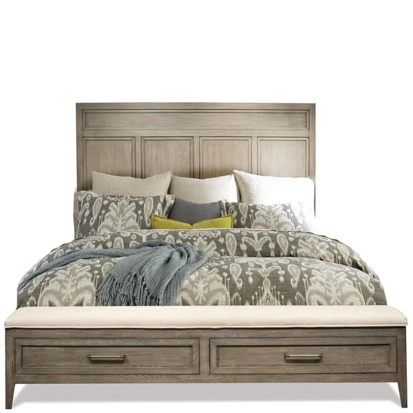 Shop Vogue Panel Bed With Upholstered Storage Bench Footboard Free