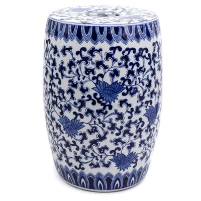 "Claybarn Blue Garden Porcelain 16"" Decorative Lotus Drum Stool"