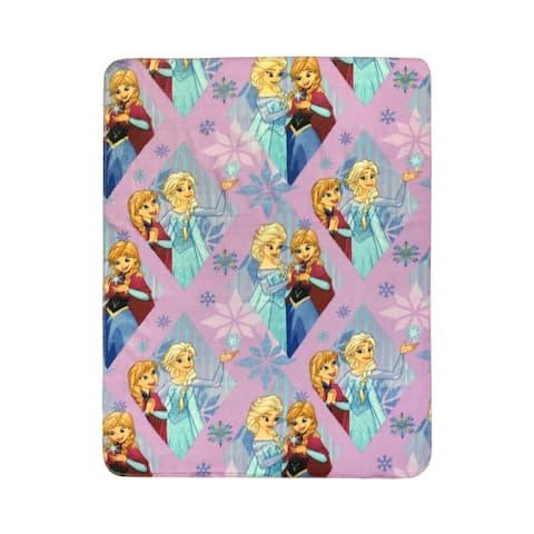 "Disney Frozen Lilac Diamond Plush 40"" x 50"" Travel Blanket"