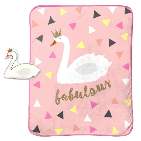 """Limited Too Fab Swan Travel Throw and 10"""" Pillow Set"""