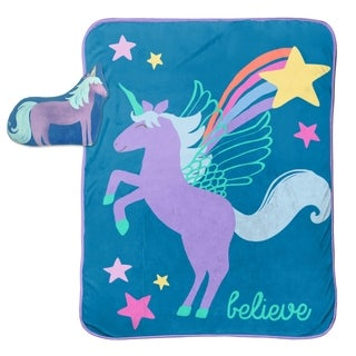 "Limited Too Unicorn Believer Travel Throw and 10"" Pillow Set"