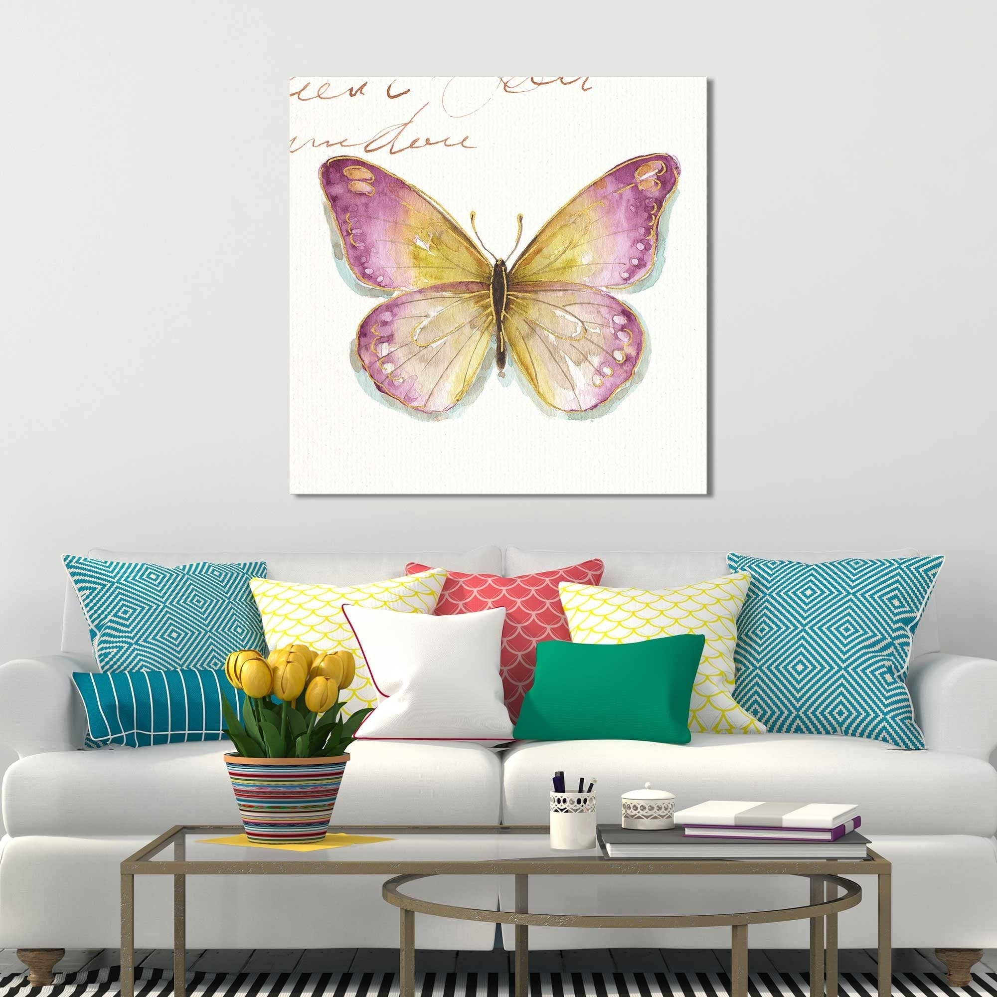 Rainbow Seeds Butterflies Ic By Lisa Audit Print On Canvas Overstock 22174935