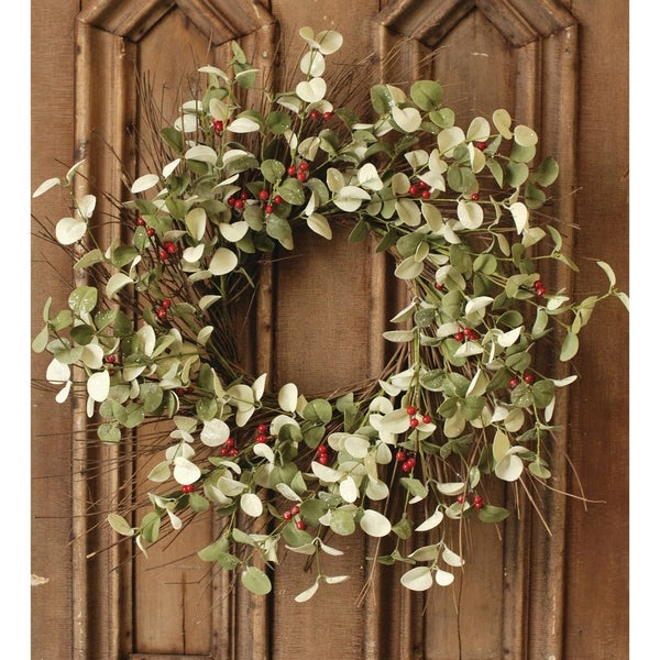Winter Silver Dollar Wreath, 24""