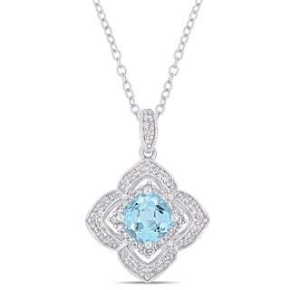 Miadora Sterling Silver Sky Blue Topaz and 1/10ct TDW Diamond Floral Halo Dangle Necklace