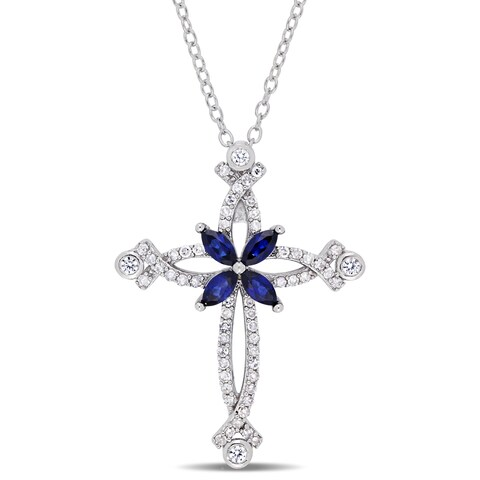 Miadora Sterling Silver Created Blue and Created White Sapphire with 1/5ct TDW Diamond Elevated Midieval-Style Cross Necklace