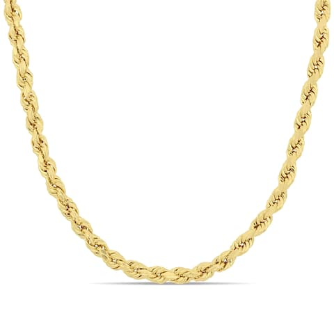 Miadora 14k Solid Yellow Gold 18 Inch Rope Chain Necklace