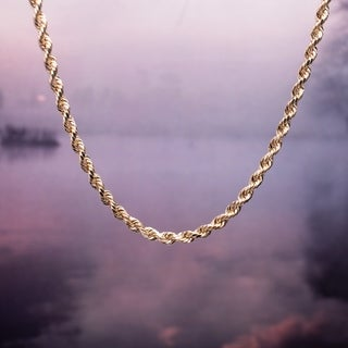 Miadora 10k Solid Yellow Gold 18 Inch Rope Chain Necklace