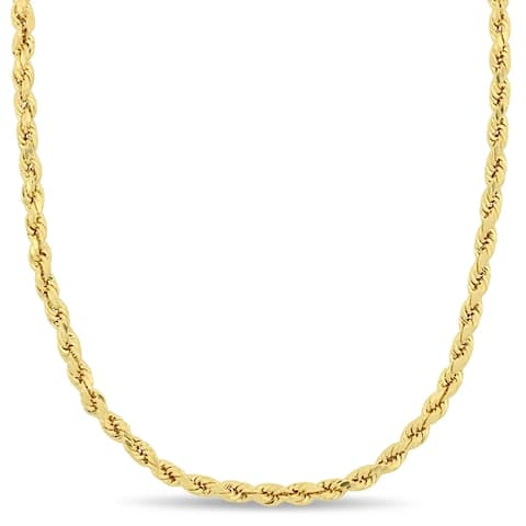 Miadora 14k Solid Yellow Gold 22 Inch Rope Chain Necklace