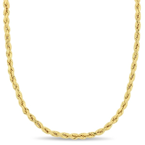 259101831d2 Shop Miadora 10k Solid Yellow Gold 20 Inch Rope Chain Necklace - On ...