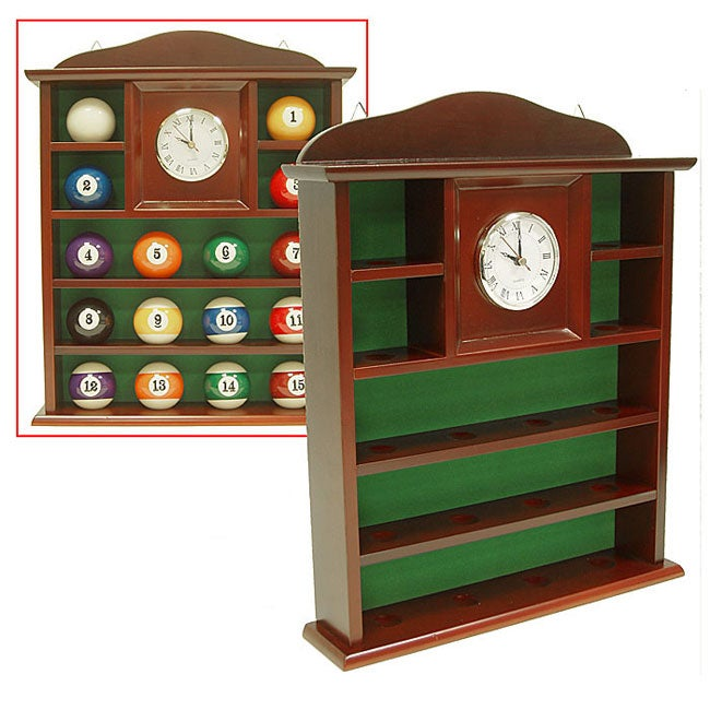 Billiard Ball Holder Solid Wood Quartz Clock - Thumbnail 0